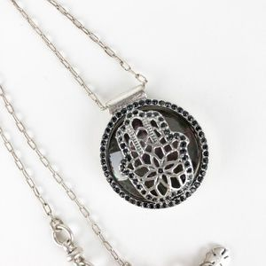 Lucky Brand Silver Hamsa Pendant Necklace